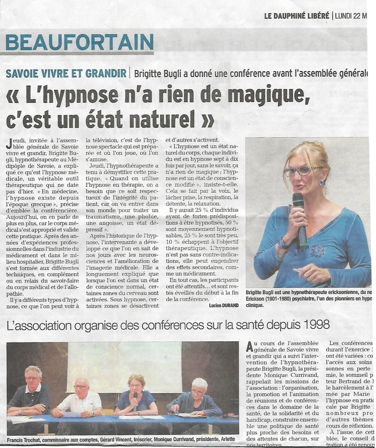 Article Dauphiné Libéré Conférence de Brigitte Bugli, Hypnothérapeute