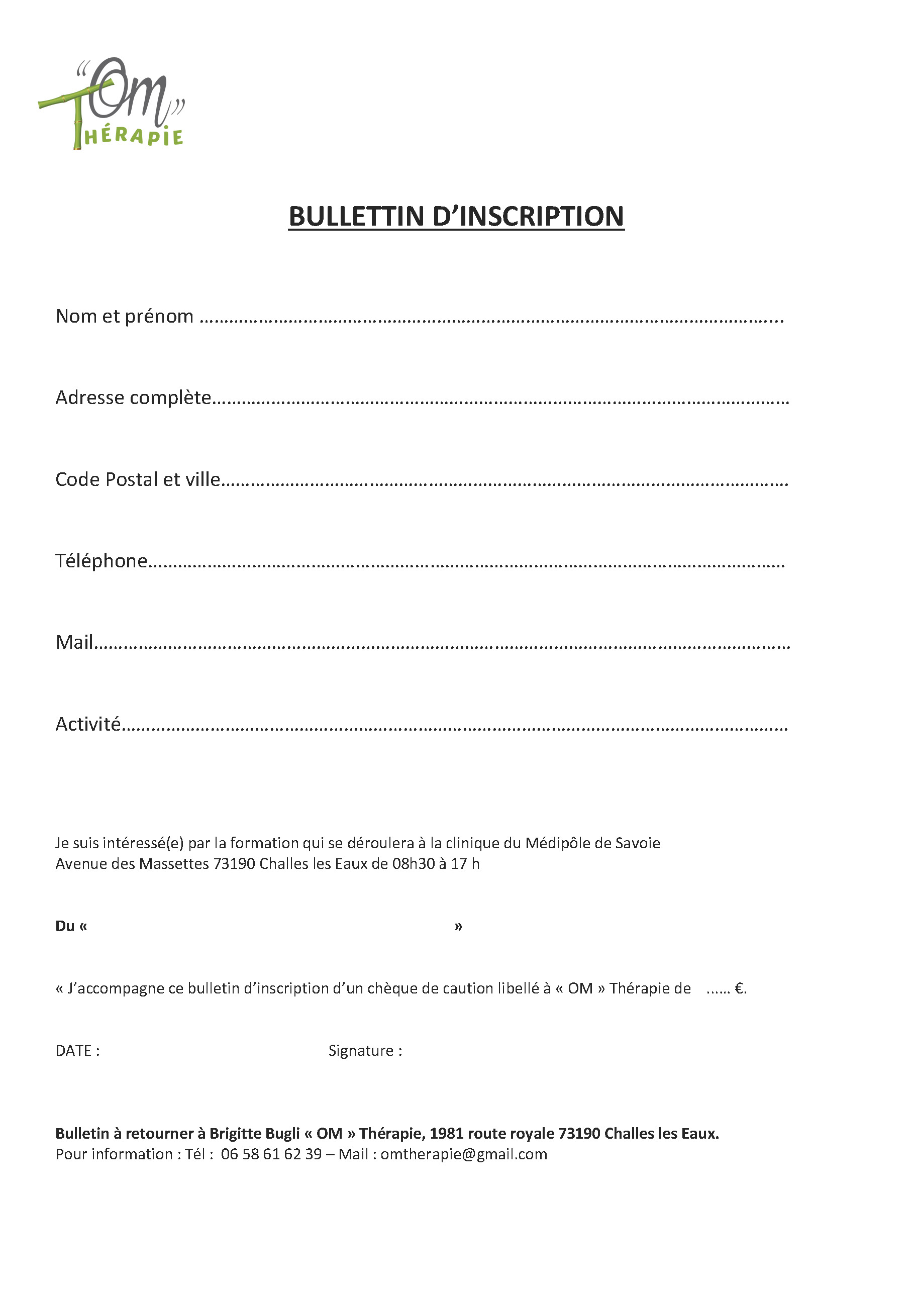 Bulletin d'inscription pour les formations